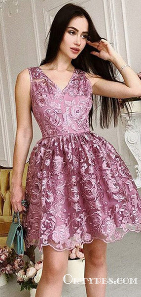 A-Line V-Neck Sleeveless Organza Appliqued With Ruched Short/Mini Cheap Homecoming Dresses, TYP2037