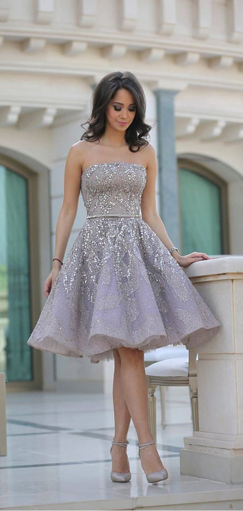 2021 Popular Grey strapless Gorgeous A-line homecoming prom gown dress, TYP0841