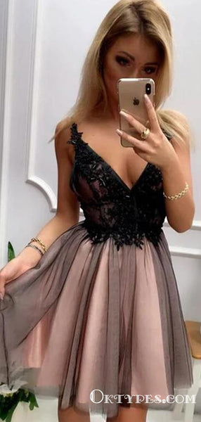Stylish A Line V Neck Gray Short Homecoming Dresses With Appliques, TYP2029