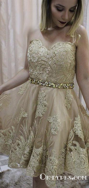 Newest Charming Sweetheart Champagne Short Cheap Homecoming Dresses With Appliques, TYP2031