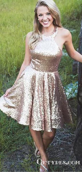 Bling A Line Halter Gold Sequins Short Cheap Homecoming Dresses, TYP2028