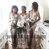 Newest Design Long Side Slit Soft Satin Special Bridesmaid Dresses, TYP0647