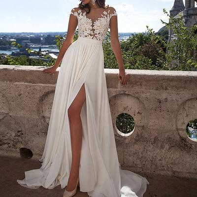White Mermaid Prom Dresses, Appliques Prom dresses, Side Split Prom Dresses, Cap Sleeve Prom Dresses, Zipper Prom Dresses, TYP0185