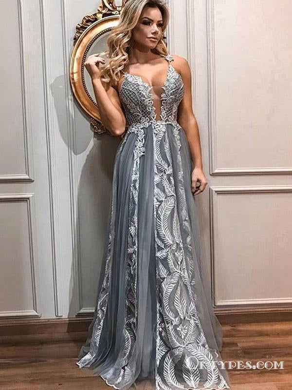 Sexy V-neck Charming Spaghetti Straps Long Cheap With Appliques Prom Dresses, TYP1384