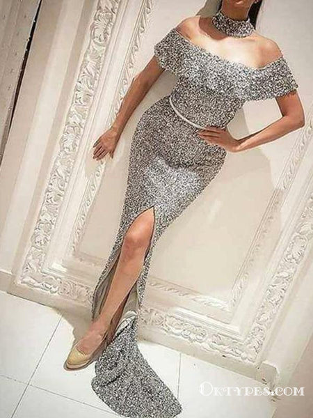 6ae258ff82c Sparkly Silver Sequin Off Shoulder Long Mermaid Prom Dresses, TYP1672