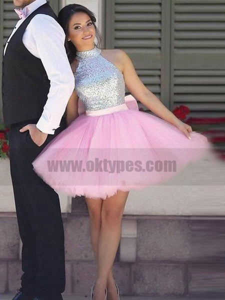 Simple Cute Short Silver Sequin Pink Skirt Cheap Homecoming Dresses 2018, TYP0803