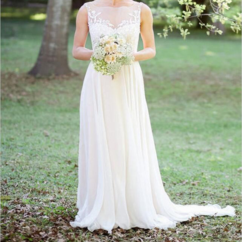 Bateau Sweep Train Long Cheap Chiffon Wedding Dress with Appliques, TYP0998