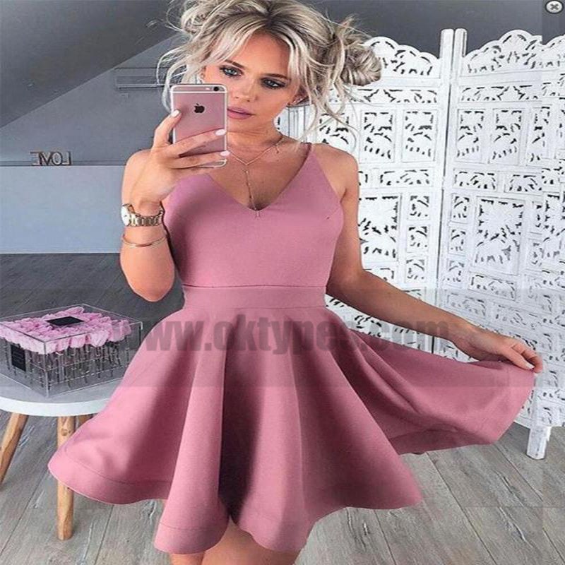 Spaghetti Straps Pink Cheap 2018 Homecoming Dresses Under 100 ...
