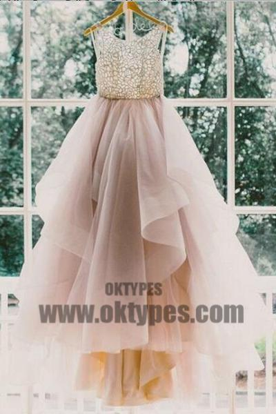 A line Scoop Neckline Organza Wedding Dresses, 2017 Long Custom Wedding Gowns, Affordable Bridal Dresses, TYP0603