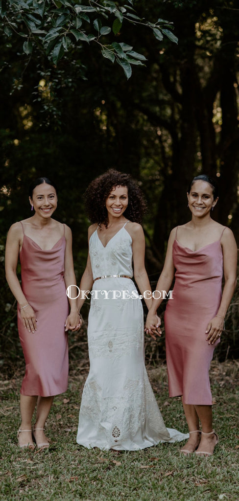 Simple Spaghetti Strap Dusty Rose Elastic Silk Cheap Bridesmaid Dresses, BDS0083