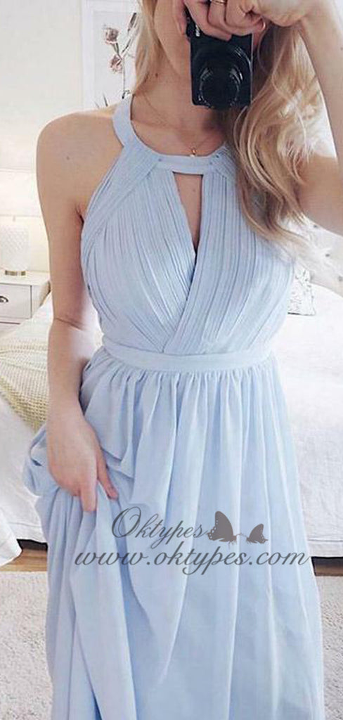 2019 Charming Light Sky Blue Long Chiffon Prom Dresses with Open Back, TYP1599