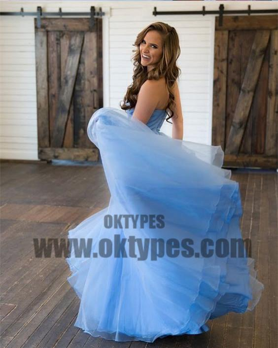 Sky Blue Sweetheart Top Lace Backless Zipper A-line Tulle Prom Dresses, TYP0580