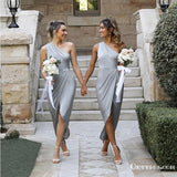 Sexy One Shoulder Silver Short Cheap Bridesmaid Dresses with Slip, TYP2005