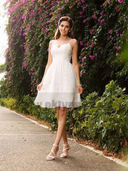 Spaghetti Straps Cheap Lace Short Wedding Dresses Online, TYP0796