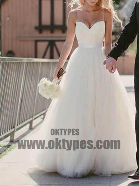 Simple Sweetheart Spaghetti Straps Cheap Custom Long Wedding Bridal Dresses, TYP0497