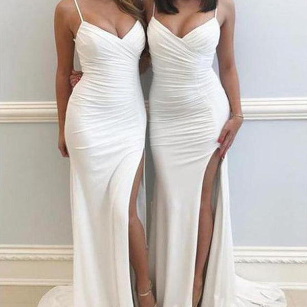fa9cd01e03700 Ivory White Mermaid Bridesmaid Dresses Sexy Bridesmaid Dress with Slit,  TYP1239