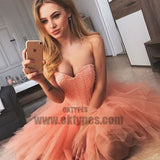A-Line Sweetheart Short Coral Homecoming Dress with Beading, Pink Homecoming Dresses, TYP0712