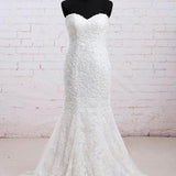Mermaid Scoop Sleeveless Court Train Long Cheap Lace Wedding Dresses, TYP1038