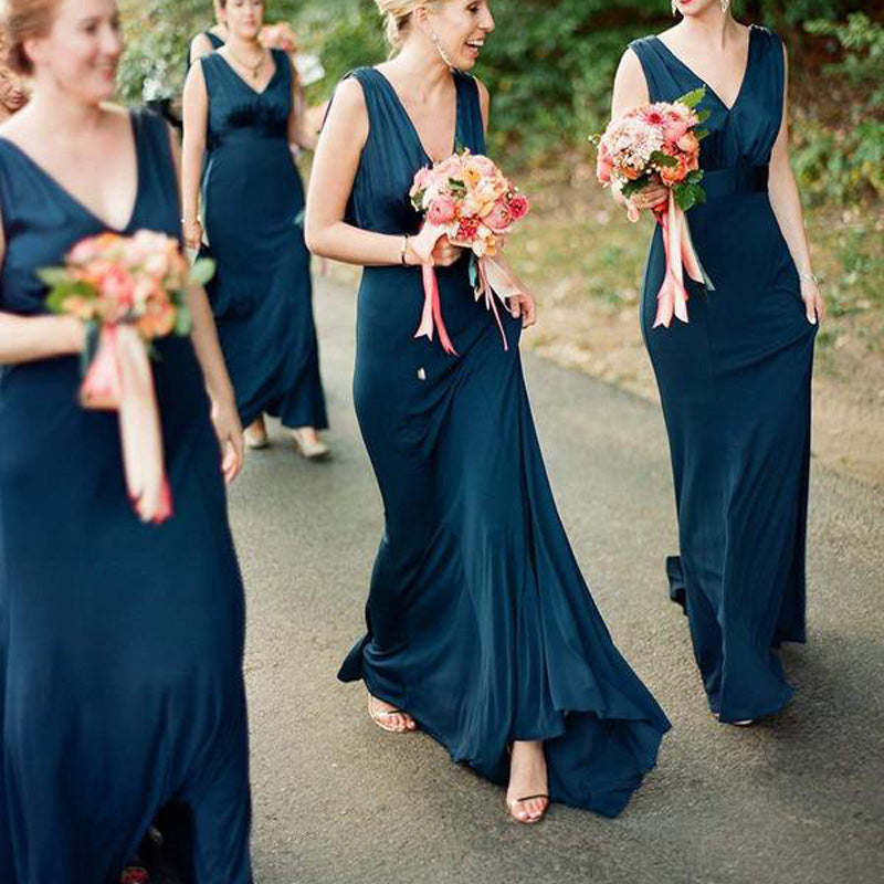 Simple Plus Size V Neck Cheap Teal Sheath Long Bridesmaid Dresses, TYP1236
