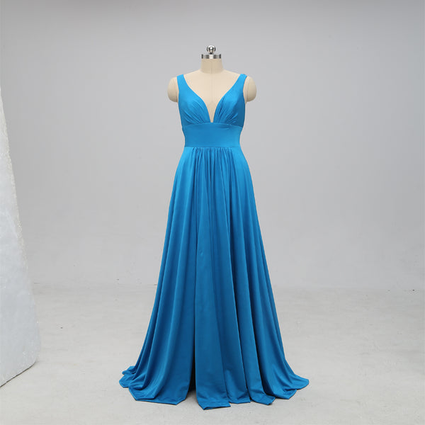 Teal V Neck Side-Slit Cheap Long Bridesmaid Dresses Online, TYP0399