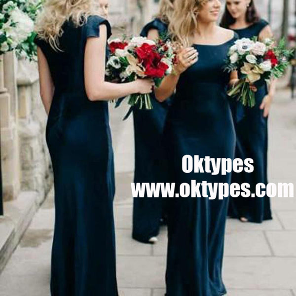 acbcc71bd550 Cap Sleeve Mermaid Dark Teal Cheap Bridesmaid Dresses Online, TYP0895