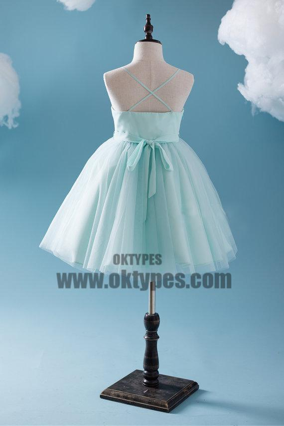 Cute Tiffany Blue Spaghetti Tulle Satin Flower Girl Dresses, Cheap Popular Little Girl Dresses, TYP0625