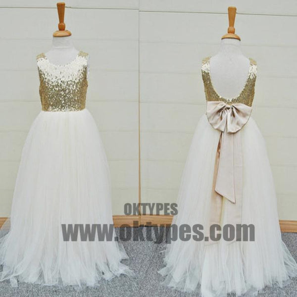 56a2ce4e1f Gold Sequin Top White Tulle Cute Flower Girl Dresses For Wedding Party