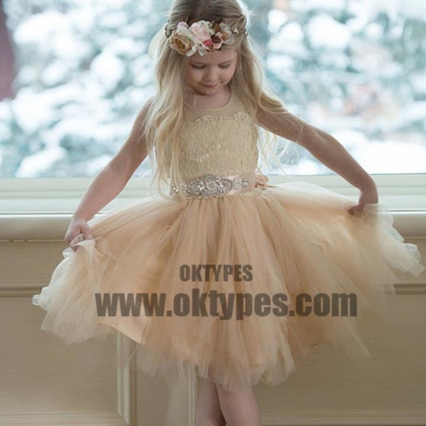 Illusion Lace Top Tulle Flower Girl Dresses, Popular Little Girl Dresses with rhinestone Belt, TYP0630