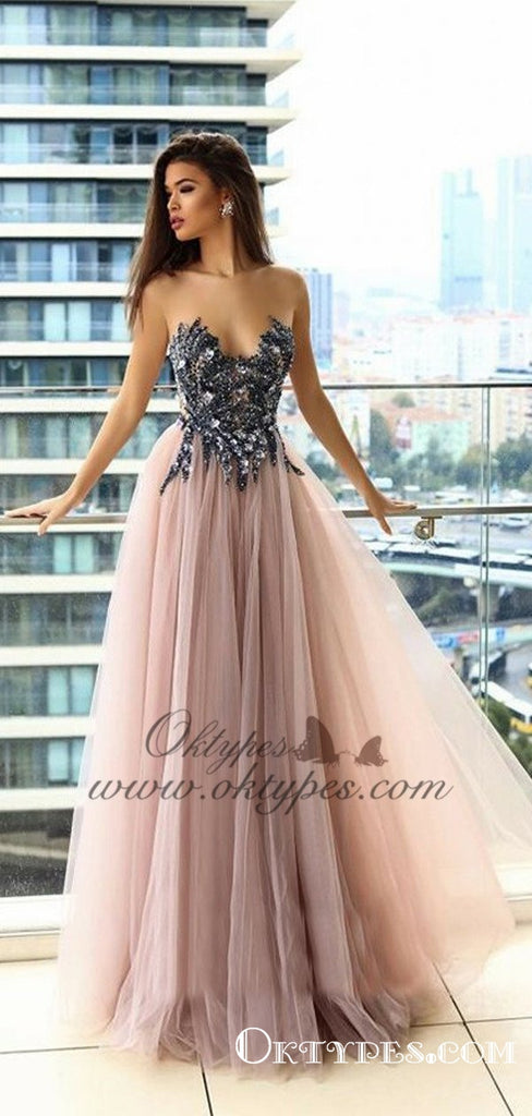 Delicate Illusion Round Neck Blush Prom Dresses with Appliques Beading, TYP1527