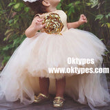 Ball Gown Light Pink Tulle Flower Girl Dress with Sequins, TYP0947