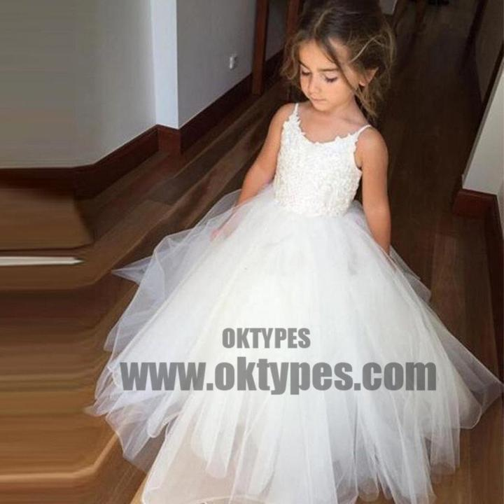 Spaghetti Lace Top White Tulle Hot Sale Flower Girl Dresses For Wedding Party, TYP0522