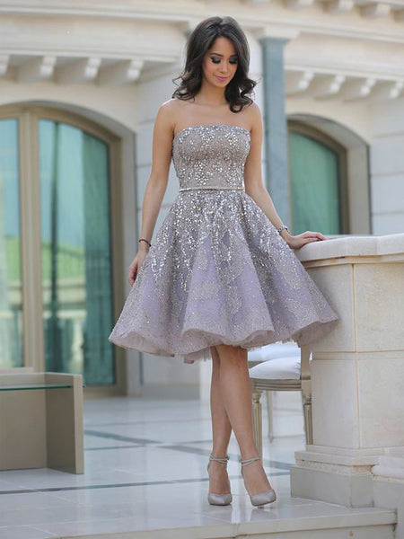2018 Popular Grey strapless Gorgeous A-line homecoming prom gown dress, TYP0841