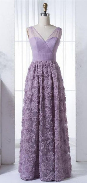 Charming Lilac V-neck Long Cheap Tulle Prom Dresses with Handmade Flowers, TYP1426