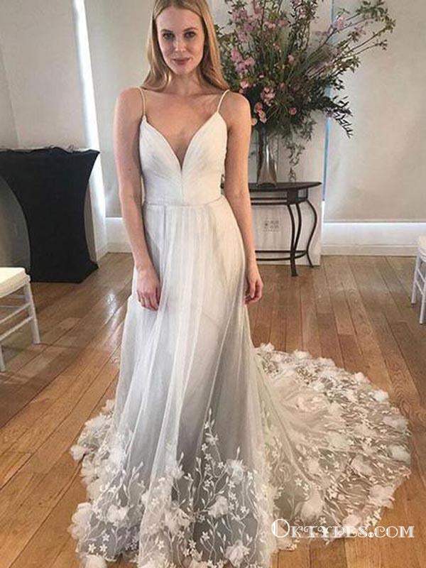 Unique Spaghetti Strap Long Cheap Tulle Prom Dresses With Lace Applique, TYP1901
