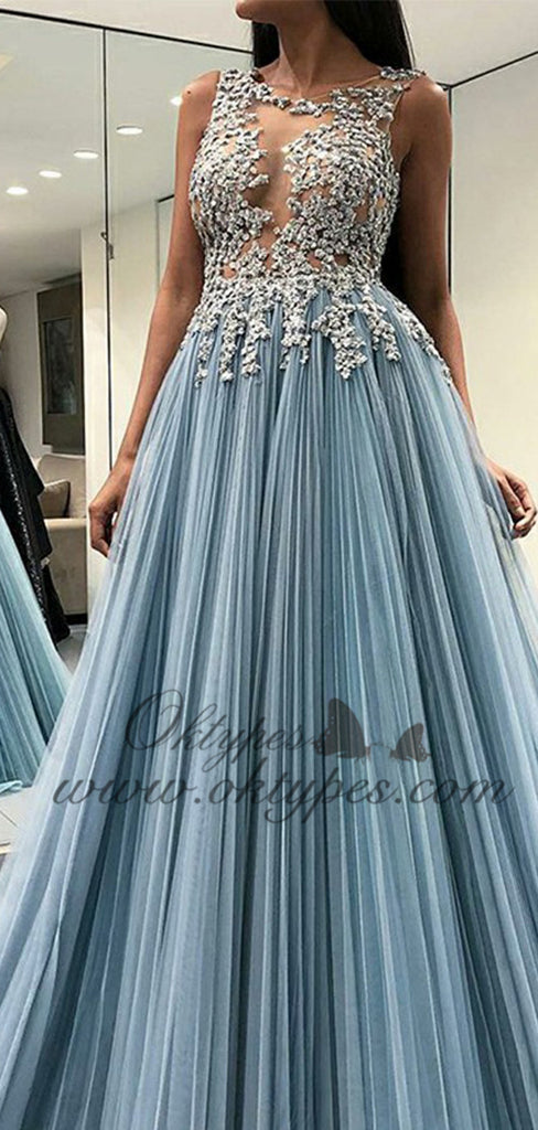 2019 Scoop Sky Blue Open Back Long Formal Prom Dresses with Appliques, TYP1522