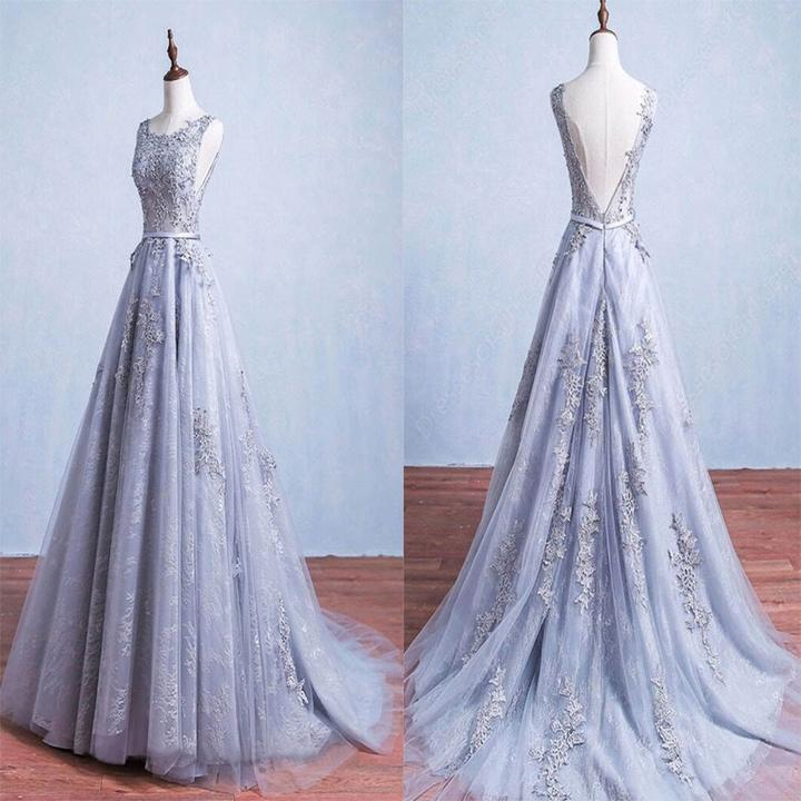 Long Mermaid Tulle Wedding Dresses, Appliques Wedding Dresses, Bateau Wedding Dresses, V-back Wedding Dresses, TYP0205
