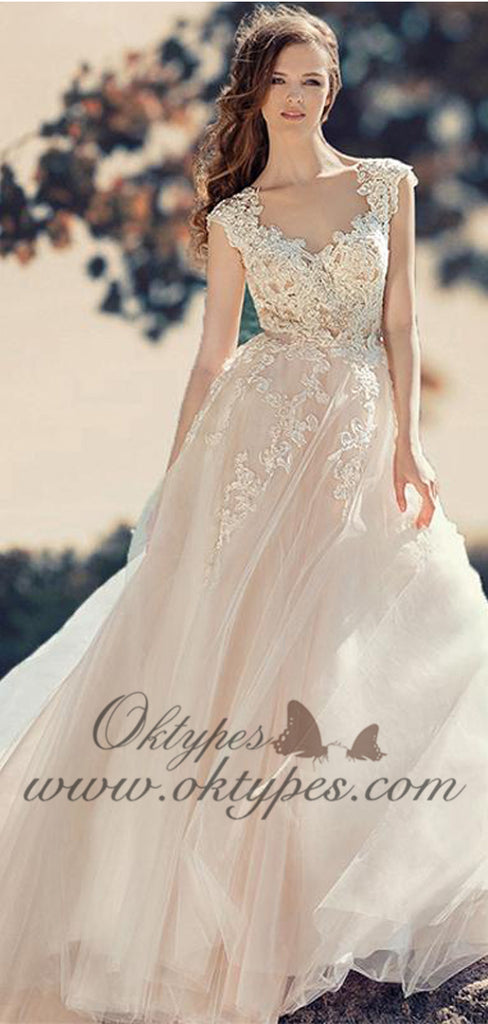 Lace Straps Brush Train Appliques Beautiful Simple Wedding Dresses, TYP1489