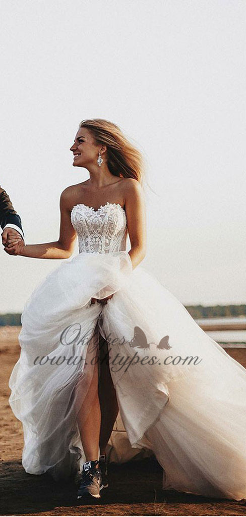 A-Line Sweetheart Court Train Tulle Long Wedding Dresses with Appliques, TYP1545
