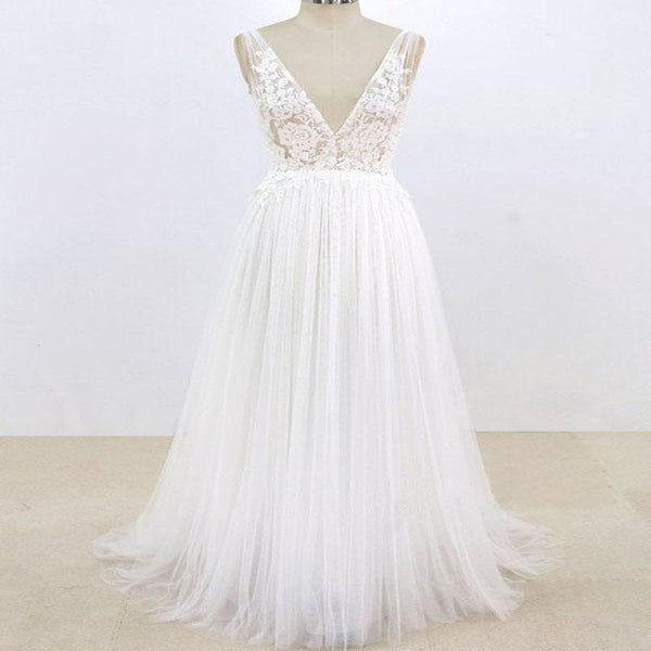 Lace Top V-back Cup Sleeve Tulle Beach Wedding Dresses, Wedding Dresses, TYP0777