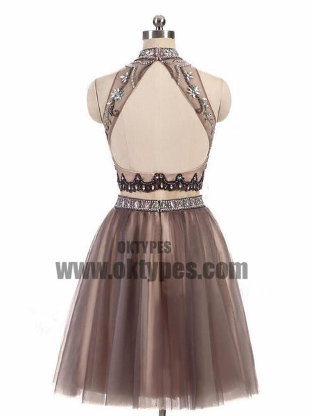 2 Pieces High Neck Rhinestone Beaded Tulle Homecoming Dresses, Short Prom Dresses, TYP0619
