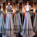 2 Pieces Rhinestone Beaded Top Satin Prom Dresses, Gorgeous Long Prom Dresses, TYP0483