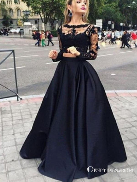 f071878c7c Black Two Piece Long Sleeve Prom Dresses, A-line Lace Two Piece Long Prom