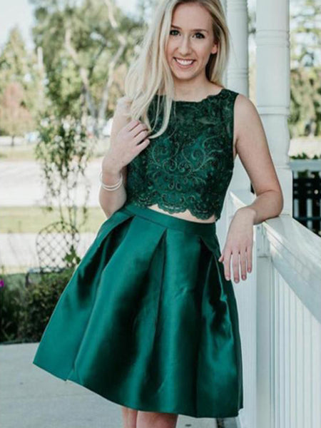 Two Pieces Beading Sleeveless Green Lace Appliques Short Homecoming Dresses, TYP1110