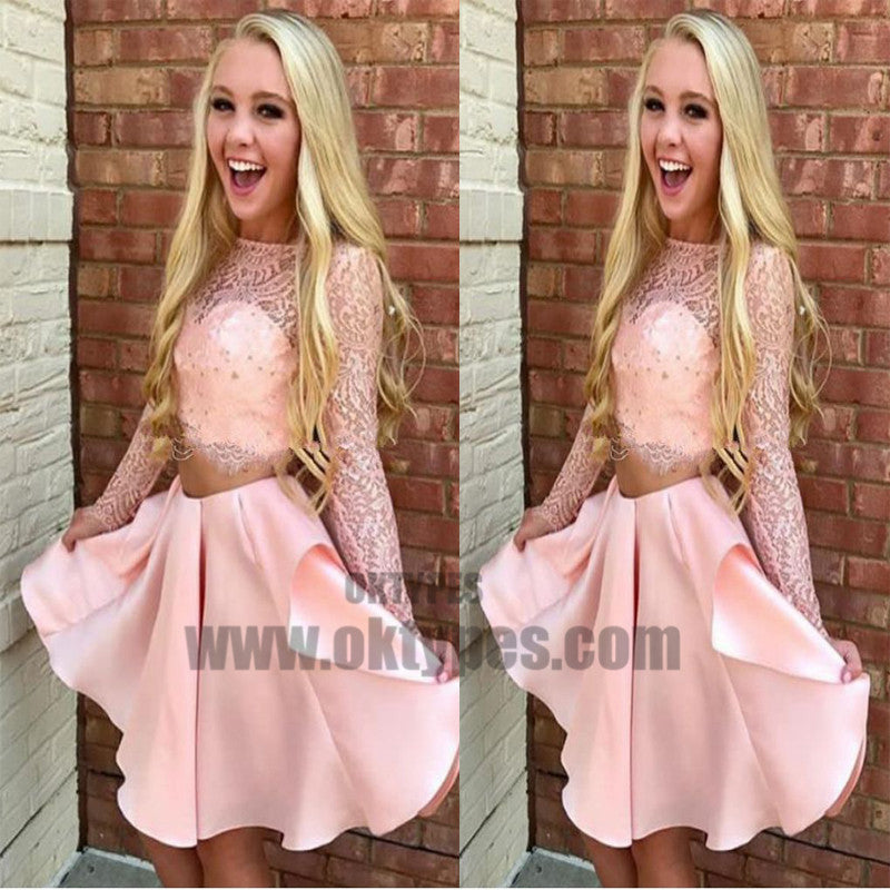 Two Piece Bateau Long Sleeves Pink Satin Homecoming Dress with Lace, TYP0713