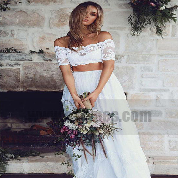 White Sexy Two Pieces Long Sleeve Lace Wedding Dresses Online, TYP0799