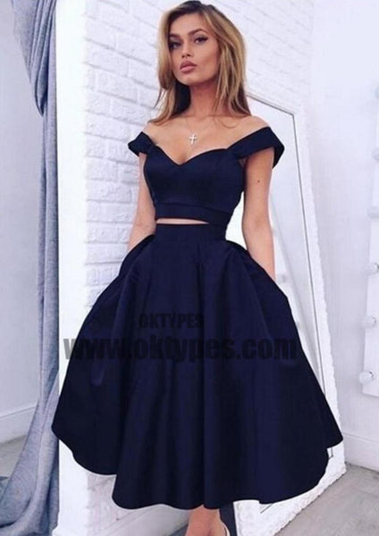 2 pieces Strap Navy A-line Sexy V-neck Homecoming Dresses, Cheap Short Prom Dresses, TYP0620
