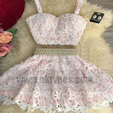 Two Piece White and Pink Short Lace Homecoming Dresses With Beading, TYP0781