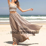 2 Pieces Spaghetti Lace Top Chiffon Prom Dresses, Chic Long Prom Dresses, TYP0643