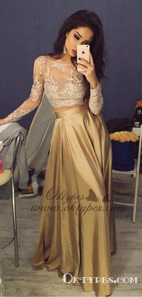 Two Piece Crew Long Sleeves Gold Elastic Satin Long Prom Dresses with Lace, TYP1620