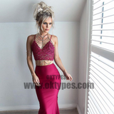 2 pieces Spaghetti Lace Top Satin Mermaid Long Prom Dresses, Sexy Prom Dresses, TYP0642